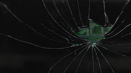 cracked glass: Broken black monitor