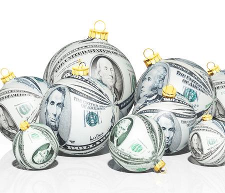 Christmas balls with money texture Stock Photo