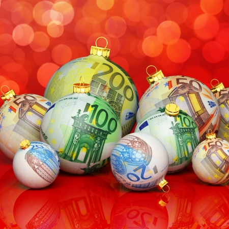 Christmas balls with money texture photo
