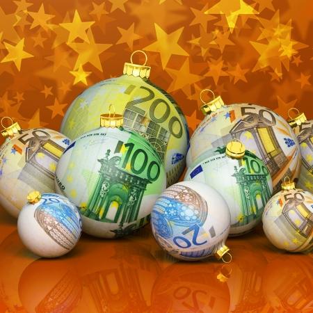 christmas profits: Christmas balls with money texture Stock Photo