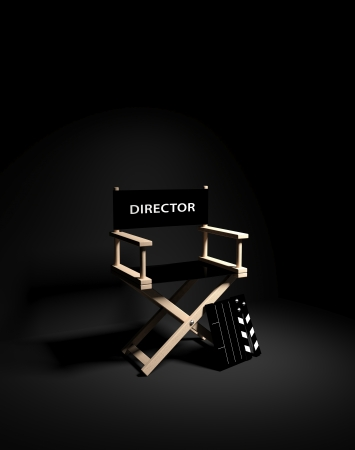 film role: Directors chair with clapboard  Stock Photo