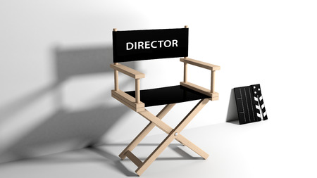film role: Directors chair with clapboard isolated on white Stock Photo