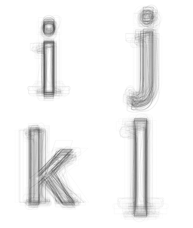 letter j: Sketchy alphabet lowercase letters, isolated on white Stock Photo