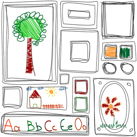 Seamless pattern. Repeating texture with Childrens drawing frames
