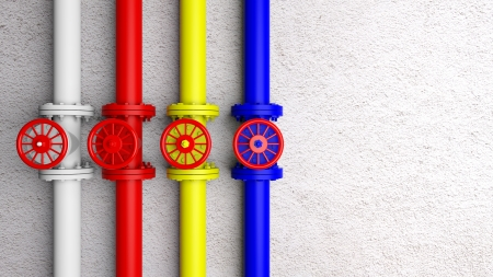 flange: Colorful row of pipes with copy-space