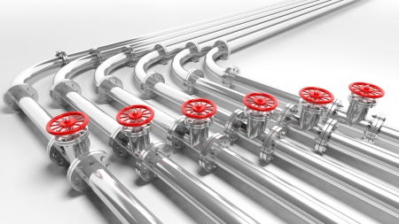 fittings: Metallic pipelines, isolated on white