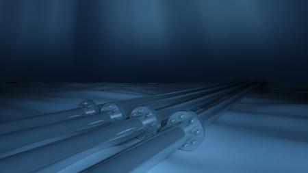 metallic: Metallic underwater pipelines Stock Photo