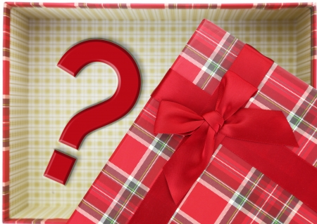 Top of present box with question mark photo