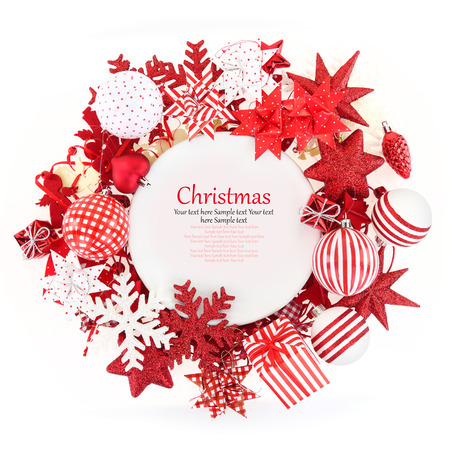White plate with Christmas ornaments around it