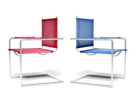 business disagreement: Disagreement office chairs, business concept