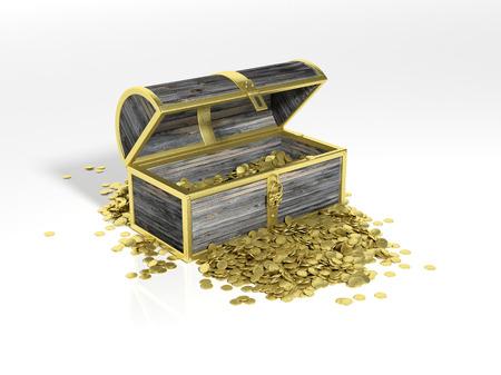 monedas antiguas: Pecho con las monedas de oro aisladas en blanco Foto de archivo