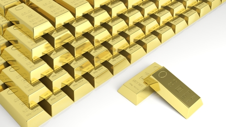 Big stack of gold bars isolated on white photo
