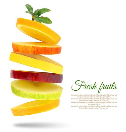 diabetes: Rebanadas frescas de frutas Foto de archivo