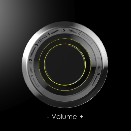 3d button: Black dial volume control  Stock Photo