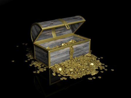 Chest with gold coins on black background photo