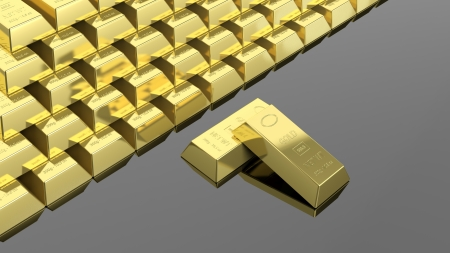 Big stack of gold bars isolated on black photo