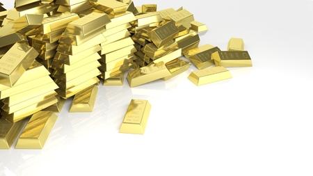 Big pile of gold bars isolated on white photo