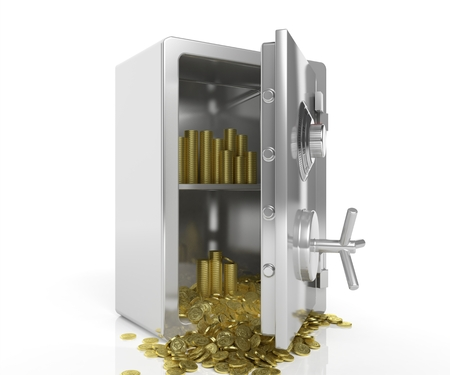 bank vault: Safe with golden coins isolated on white