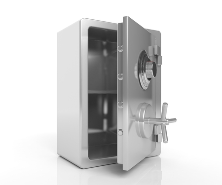 bank vault: Security steel empty safe isolated on white