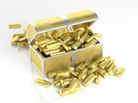lingotes de oro: Pecho de oro llena de barras de oro