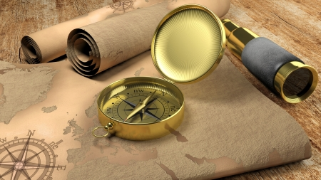 3D compass with map and monocular on wooden table photo
