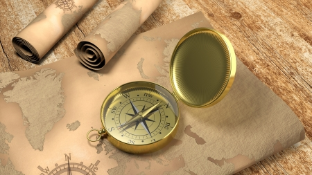 3D gold compass with map on wooden table Фото со стока
