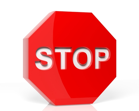 Stop sign 3D render photo