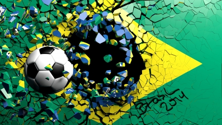 Soccer ball breaking though wall with Brazilian flag photo