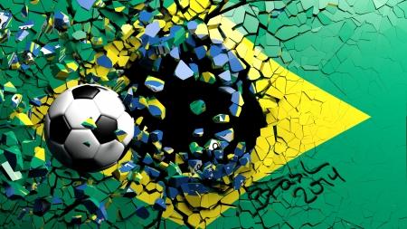 fanatic: Soccer ball breaking though wall with Brazilian flag