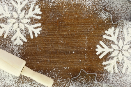 cookie cutters: Creative winter time baking background  Stock Photo