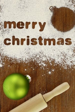 Christmas baking preparation background photo