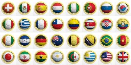 Soccer balls with various flags isolated on white photo