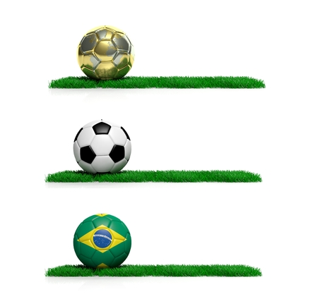Three banners with 2014 Mundial theme ball and grass on white background photo