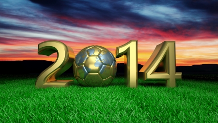 Gold 2014 with gold soccer ball on grass Stock Photo - 24222805