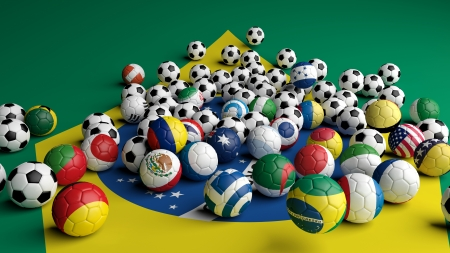 Soccer balls with various flags on Brazilian flag background photo