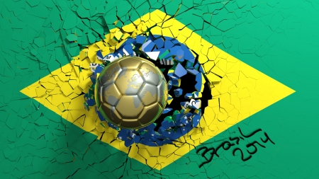 Gold soccer ball breaking though wall with Brazilian flag photo