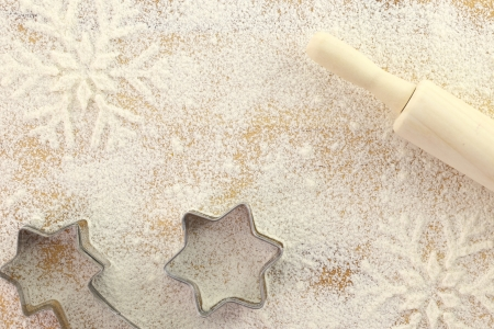 Creative winter time baking background  photo