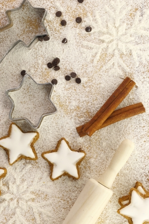 Winter time baking creative background photo