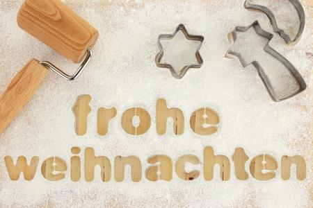 weihnachten: Frohe weihnachten baking preparation background