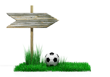 Wooden sign with soccer ball and grass, isolated on white photo