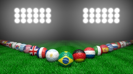 Soccer balls with various countries flags on grass photo