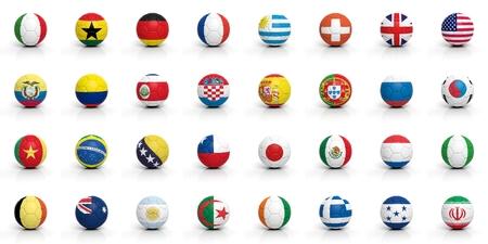 banderas del mundo: Balones de fútbol con varias banderas aislados en blanco Foto de archivo
