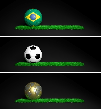 Three banners with 2014 Mundial theme ball and grass on black background