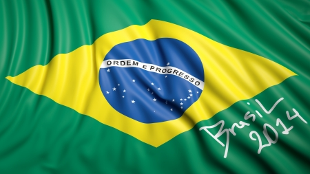 Waving Brazilian flag with signature photo