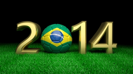 Gold 2014 with Brazilian soccer ball on grass photo