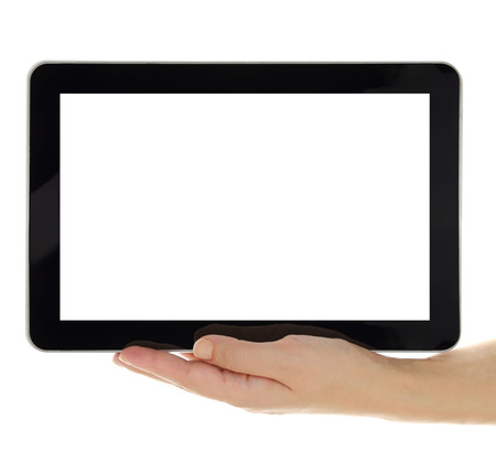 Female hand holding horizontal tablet with blank screen isolated photo