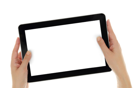 Female hands horizontally holding tablet with blank screen isolated photo