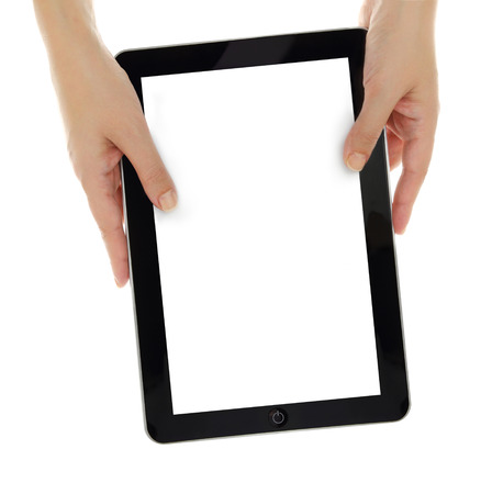 pda: Female hands vertically holding tablet with blank screen isolated
