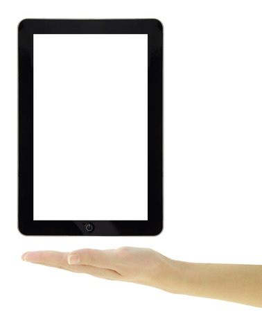 Female hand presenting a tablet with blank screen isolated photo