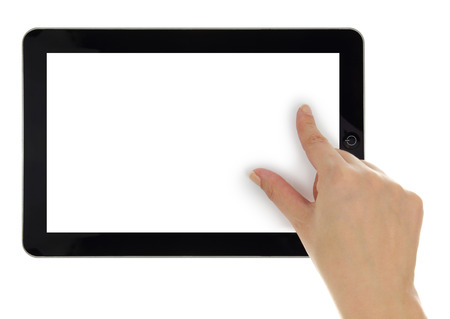 zoom in: Female hand zoom in on tablet with blank screen isolated Stock Photo